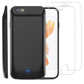 Coque Batterie pour iPhone 6/6s avec 2 Protection écran Verre trempé,PEMOTech 5000mAh Chargeur Portable Batterie Externe Pu
