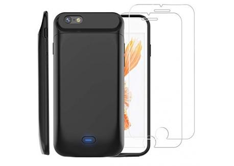 Coque Batterie pour iPhone 6/6s [avec 2 Protection écran Verre trempé],PEMOTech 5000mAh Chargeur Portable Batterie Externe Pu