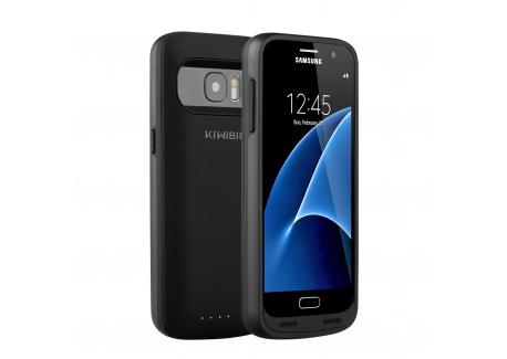 KiWiBiRD 5000mAh rechargeable coque de batterie pour Samsung Galaxy S7 avec 120%+ de batterie  Uniquement pour le S7  - Noir