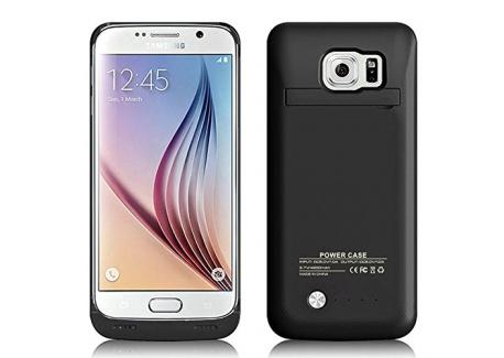 MPTEK @ Noir Coque batterie 4200mAh Etui housse rechargeable pour Samsung Galaxy S6 Edge samsung S6 edge G925 G925A G925F 5,1