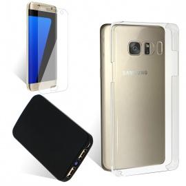 Coque Batterie Samsung S7 Edge 3000mAh + Film protecteur verre trempé dédié transparente