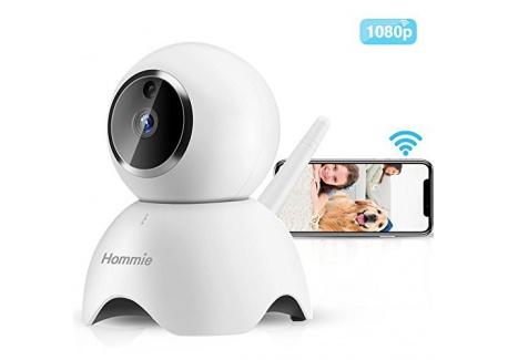 Hommie Caméra de Surveillance 1080P HD WiFi 2,4 GHz, Caméra IP en Temps Réel avec Audio Bidirectionnel, Vision Nocturne et Dé