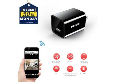 Mini Caméra 1080P HD, Caméra de Surveillance Chargeur USB, Caméra Espion Portable Caméra de Sécurité WiFi Petite Caméra Détec