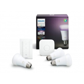 Philips Hue Kit de démarrage White and Color Ambiance 3 x E27 10 W [pont et interrupteur avec variateur inclus] - Fonctionne