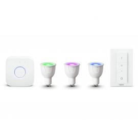 Philips Hue Kit de Démarrage White And Color Ambiance  3XGU10 6,5W [Pont et Interrupteur avec Variateur Inclus] - Fonction