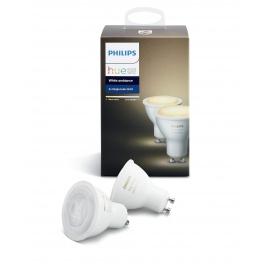 Philips Hue Pack de 2 ampoules connectées White ambiance GU10 - Fonctionne avec Alexa